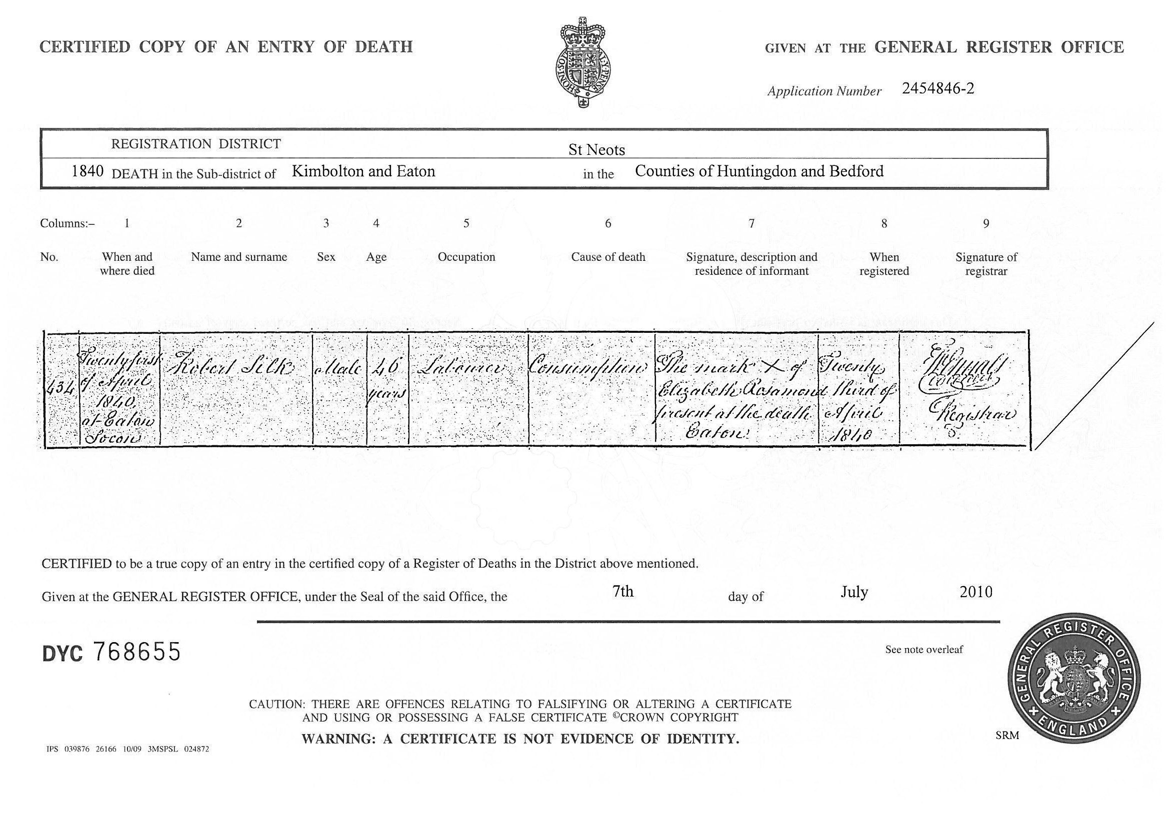 What can death certificates tell you the genealogy corner an 1840 death certificate issued by the authorities in the uk source www aiddatafo Choice Image
