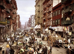 Mulberry Street, Little Italy, in New York City, c. 1900. (Source: Wikipedia)
