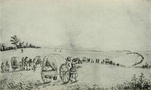 A Mormon handcart train making its way across the American territories. (Source: Wikipedia)