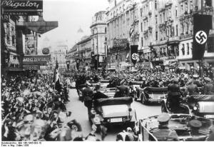 Cheering crows greet the Nazis in Vienna following the Anschluss, in 1938. Photo courtesy of Wikipedia.