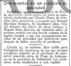 Noticia publicada por el diario ABC el 16 de octubre de 1935, adelantando el accidente ocurrido en Valladolid. Fuente: Hemeroteca ABC.