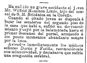 Noticia publicada en La Idea Moderna en 1894 relatando los detalles del accidente de Wilfrid Hamilton Little.