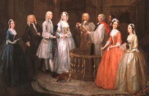 El matrimonio de mis antepasados permitió que sus descendientes pudieran legalmente heredar el vínculo de mayorazgo fundado por sus bisabuelos. Cuadro de William Hogarth.