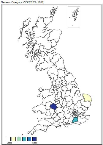 Vickress Surname England 1881