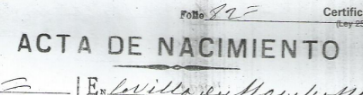 Certificate of Birth, as mentioned on a Spanish specimen.