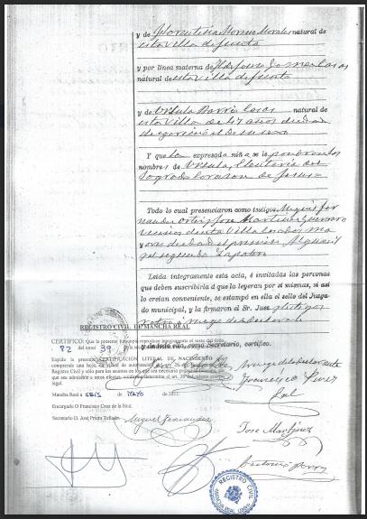 Spanish Birth Certificate (back) | The Genealogy Corner