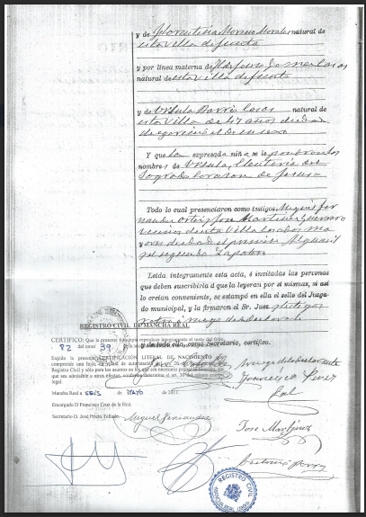 Back of a Spanish birth certificate.