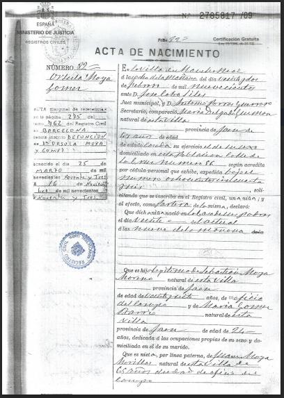 Spanish Birth Certificate | The Genealogy Corner