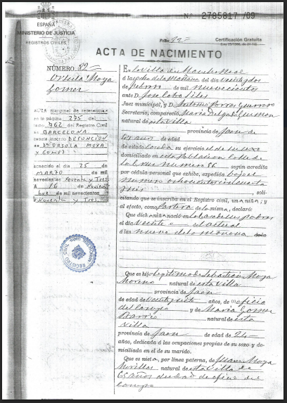 Front page of a Spanish birth certificate dated 1900.