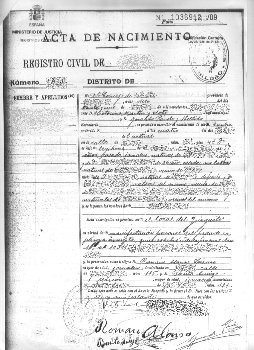 How to order a spanish birth certificate the genealogy corner xflitez Gallery