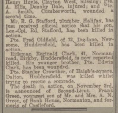 1916.11.08 (PRESS) Reginald Clarke, Leeds Mercury